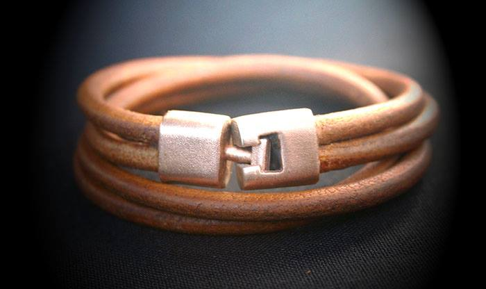 Pink Bronze Double Leather Wristband