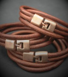 Unisex Pink Bronze and leather double wristband $80 see note