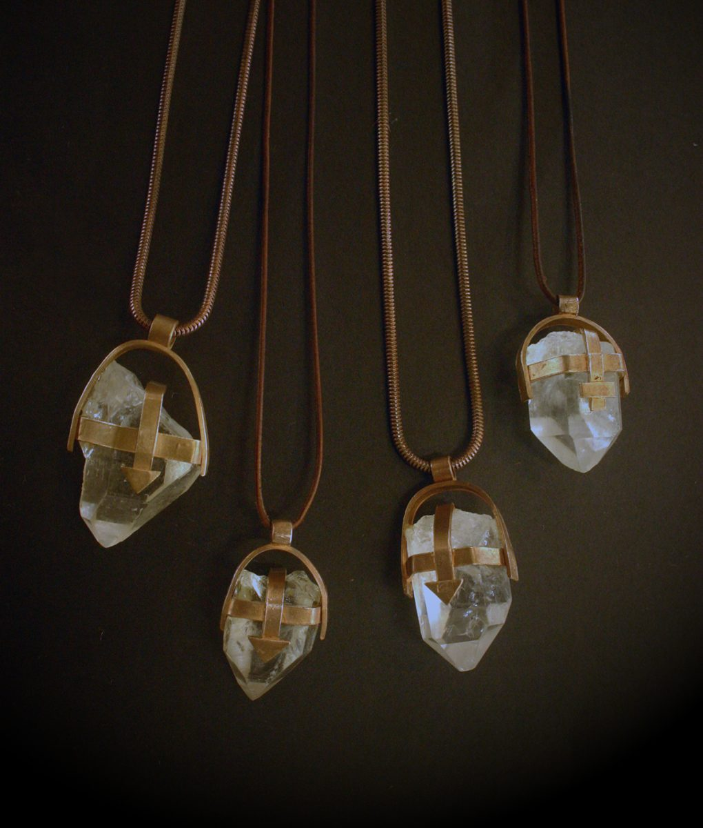 Pink Bronze Clear Crystal Quartz Necklace