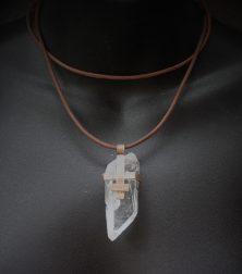 Pink Bronze Cear Crystal Quartz Necklace