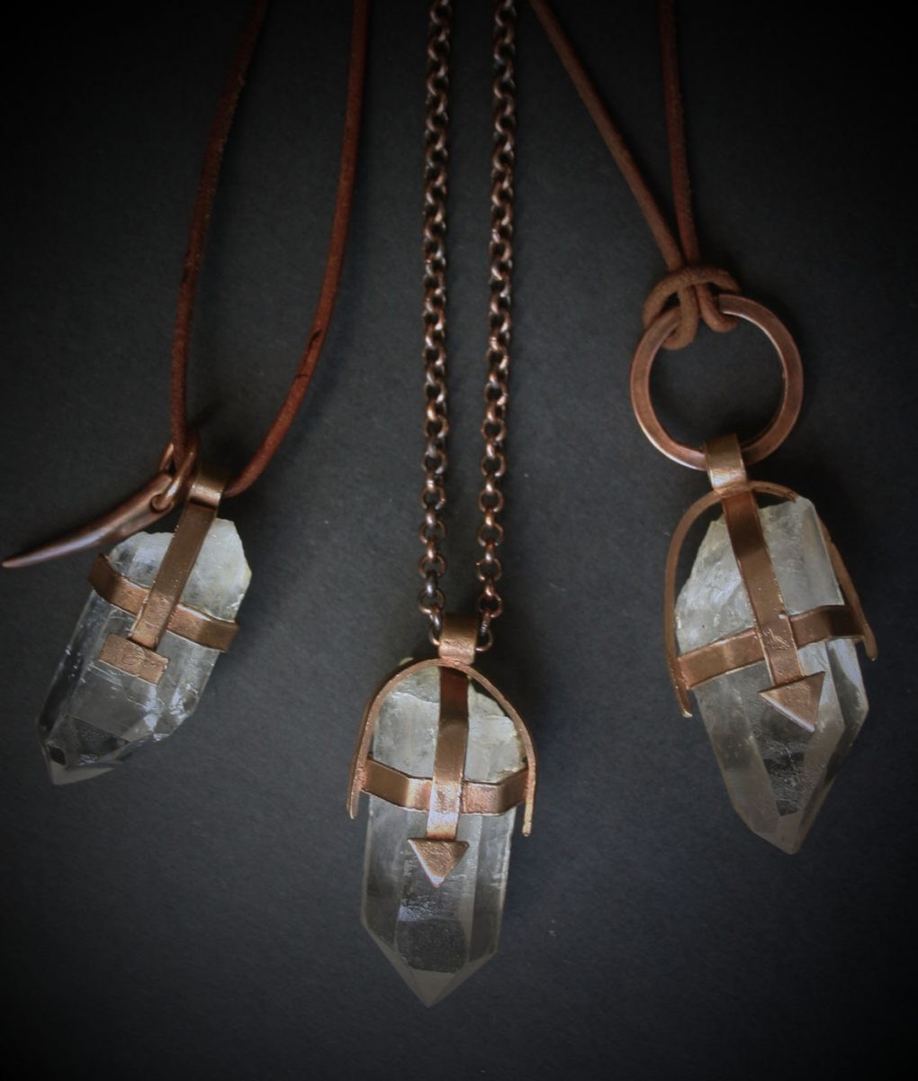 Pink Bronze Cear Crystal Quartz Necklace