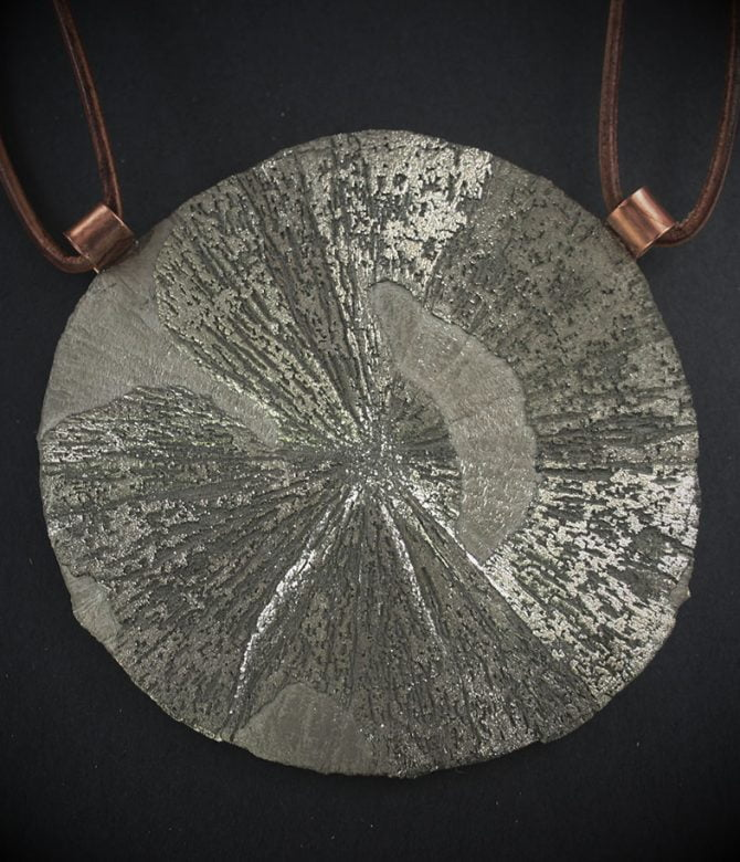 Pyrite Sun with Leather and Copper