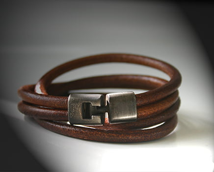 White Bronze and Leather Double Wristband