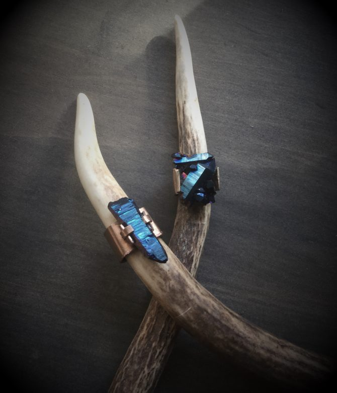 Cobalt Shard Cocktail Rings