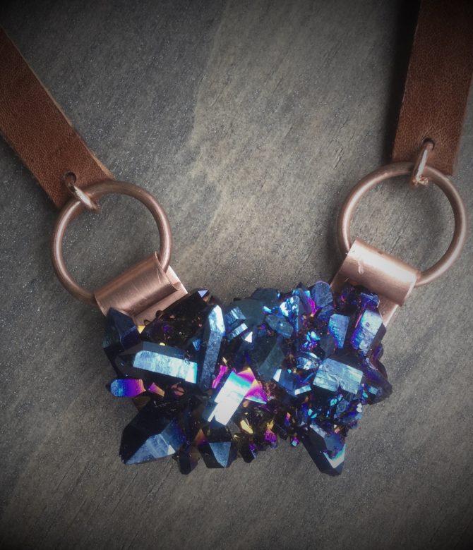 Oblong Cobalt Cluster Necklace