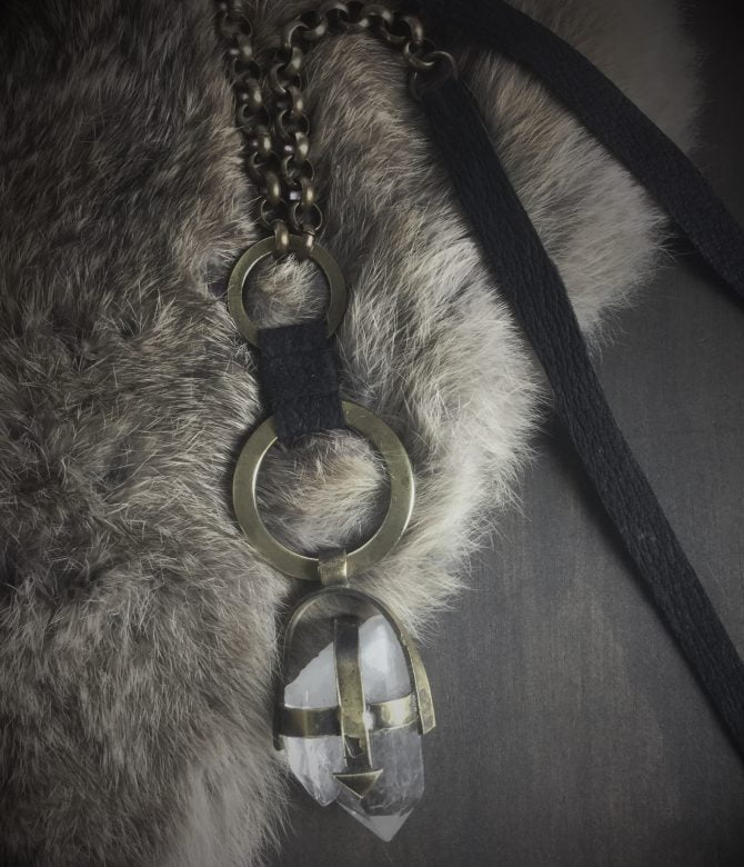 2. Extra Large Twin Shard Crystal, Double Brass Rings and Black Leather