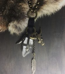 Nomad Large Crystal Quartz with Buffalo, Claw and Feather