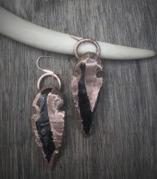 Dragon Glass Spear Earrings with Copper