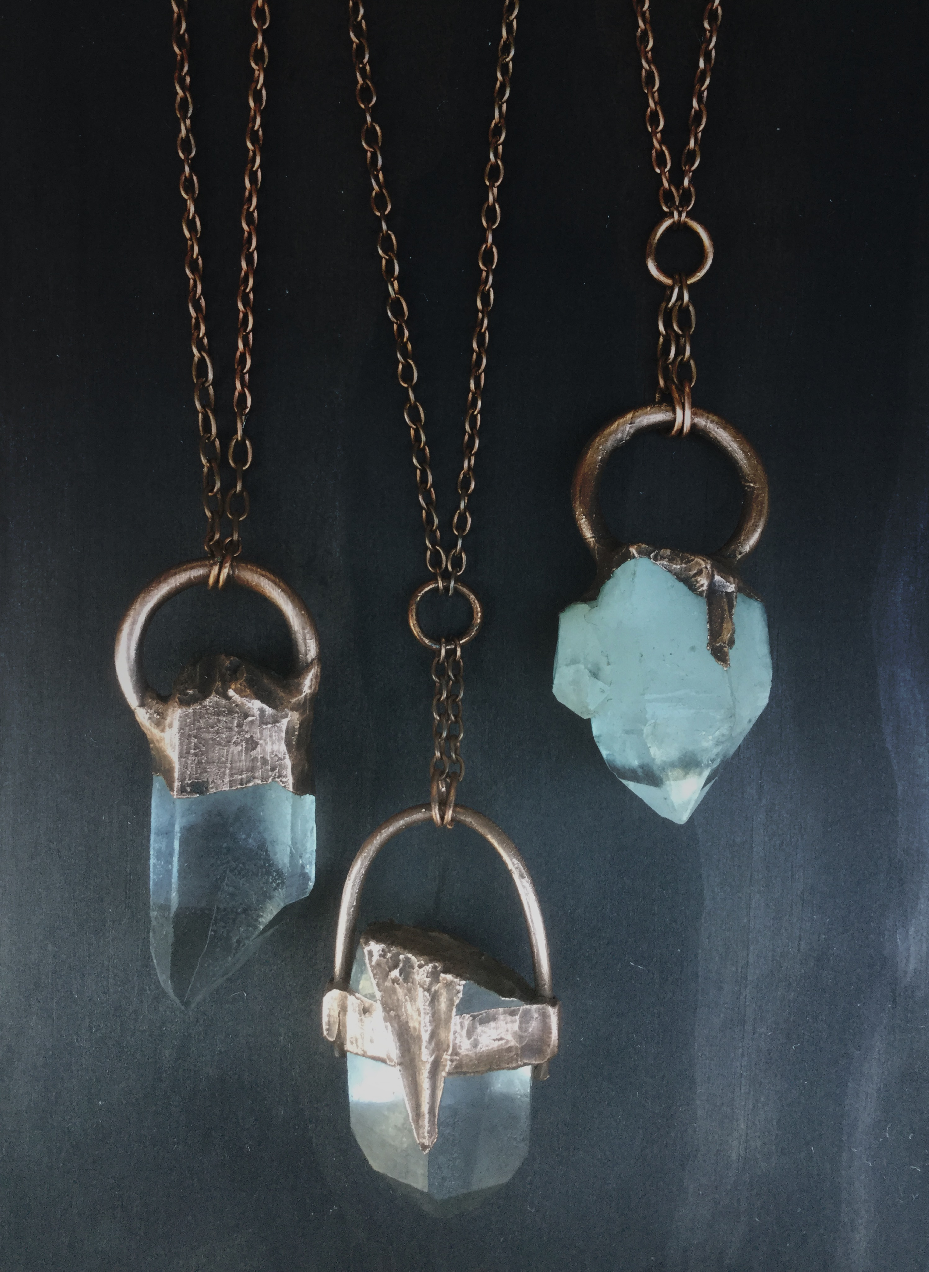 Extra Large Clear Crystal Quartz Neckpieces with Copper