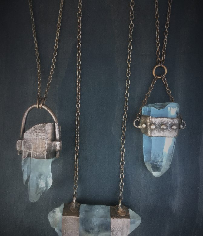Exra Large Clear Crystal Quartz Neckpieces with Copper