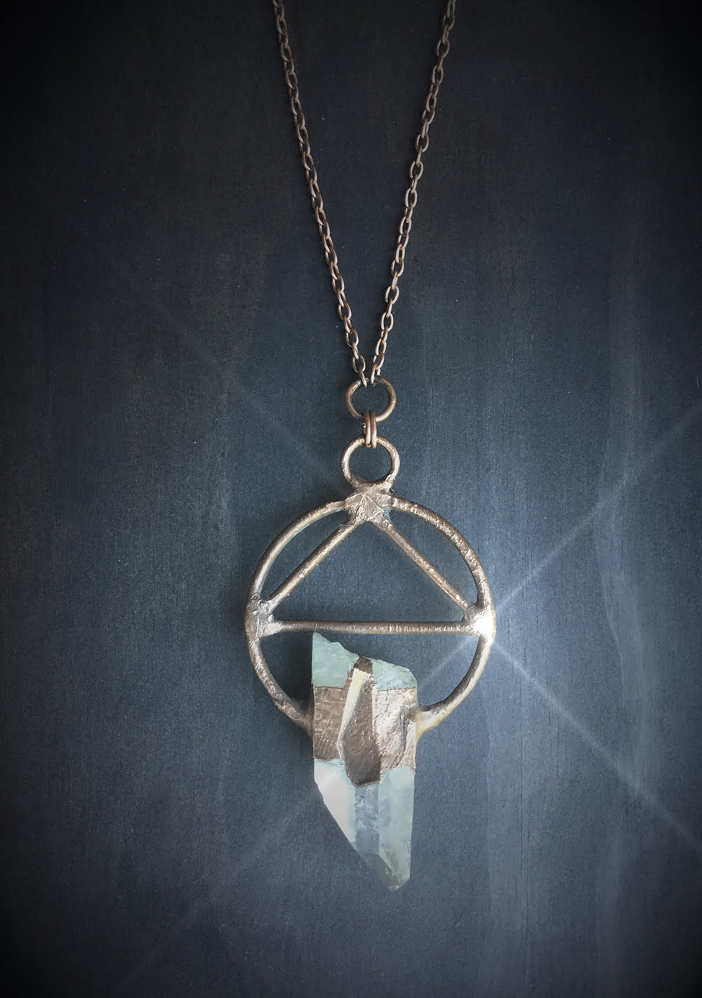 Mystic Triangle Crystal Quartz Necklace