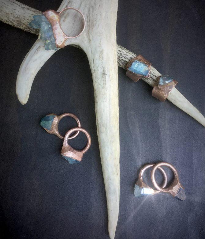Medium Aqua Aura Quartz Rings