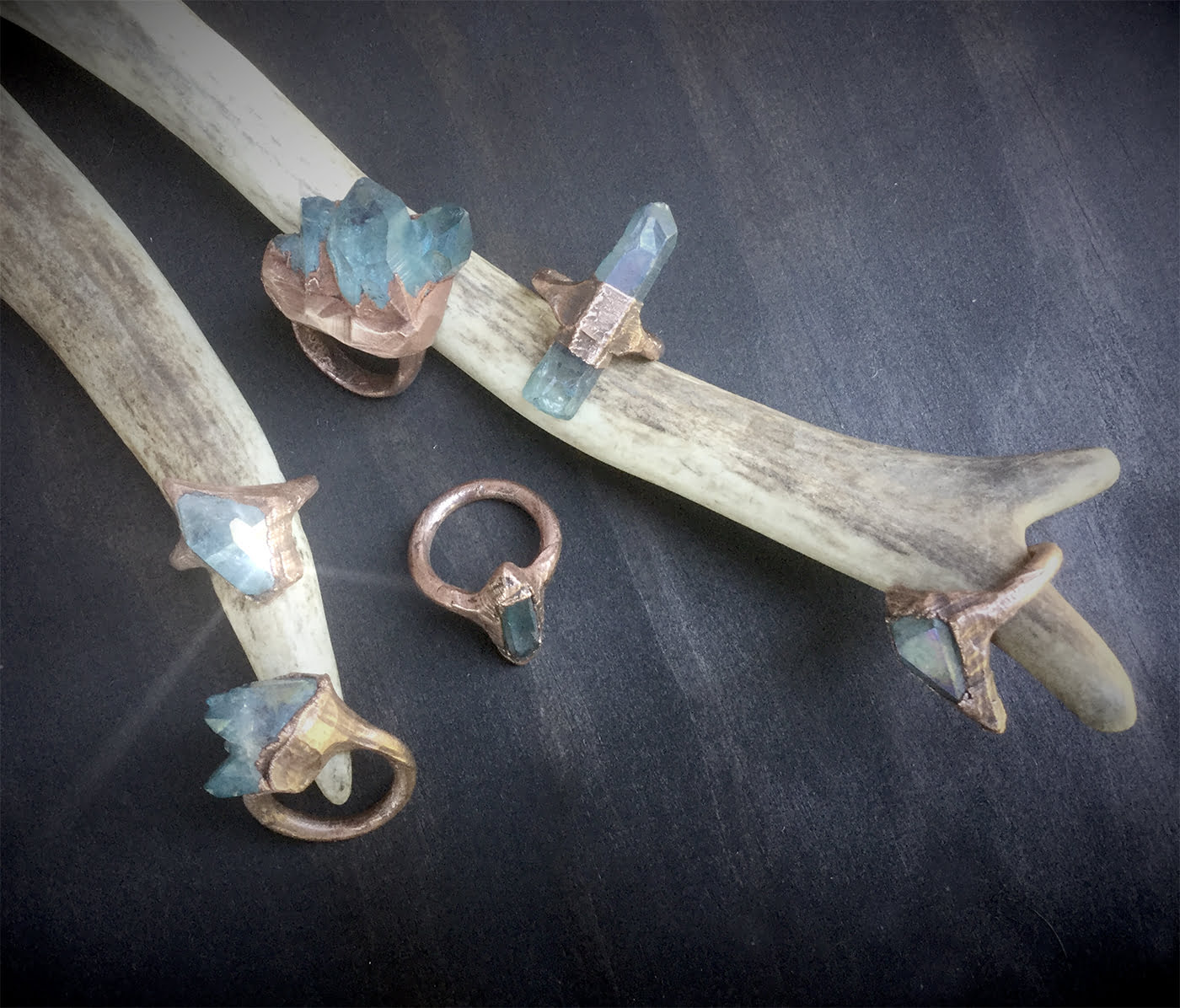 Small Aqua Aura Quartz Rings