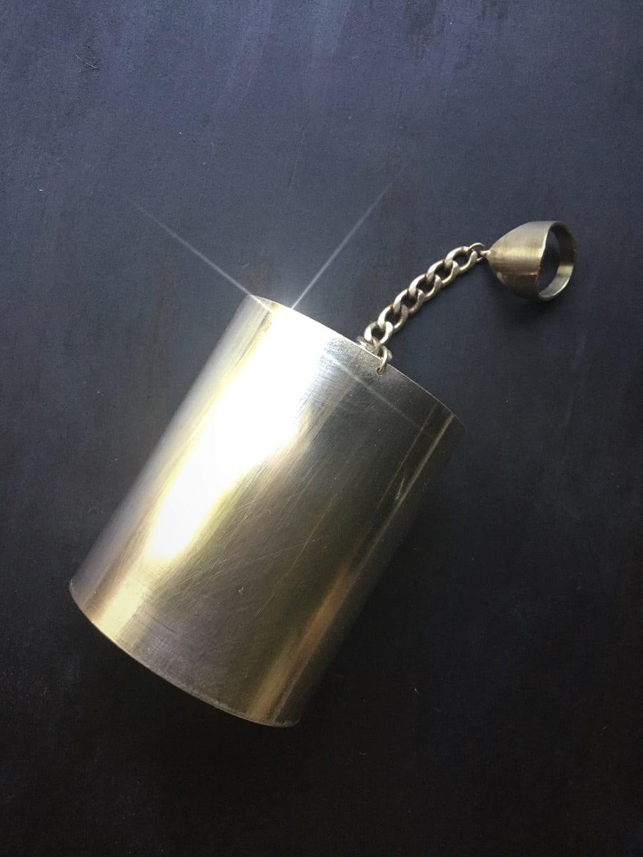 Brass Cuff with Ring Chain