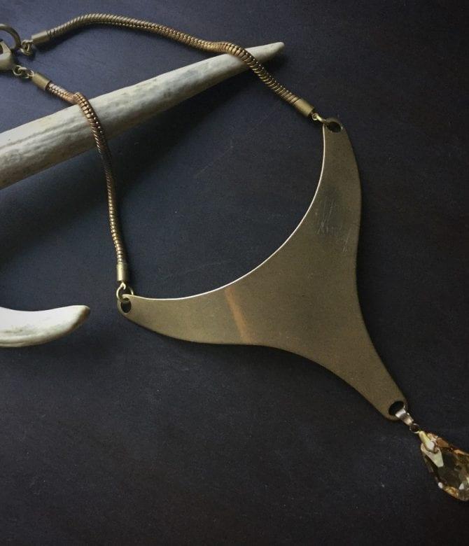 Bronze Neckpiece with Swarovski Crystal
